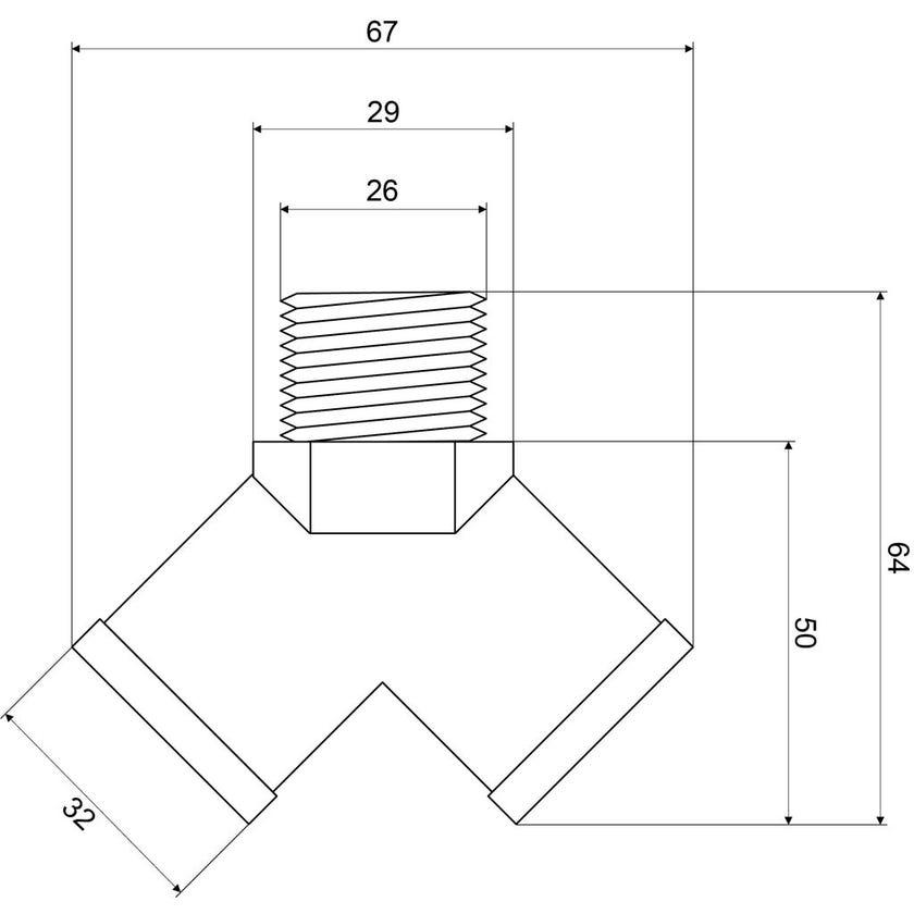 Mildon Y Piece Double Tap Adaptor 20mm