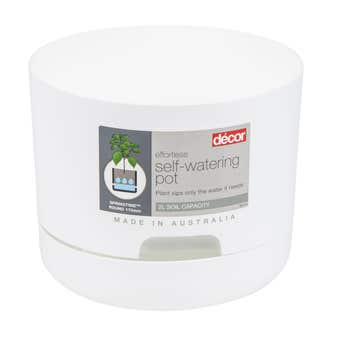 Décor Round Self Watering Pot White 170mm