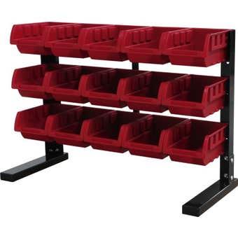 Storage Geelong 15 Bin Rack Red
