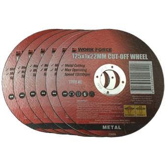 Work Force Metal Cutting Disc 125 x 1 x 22mm - 6 Piece
