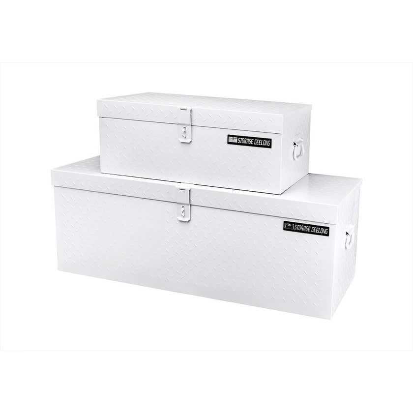 Storage Geelong Flush Lid Diamond Toolbox Plate White - 2 Pack