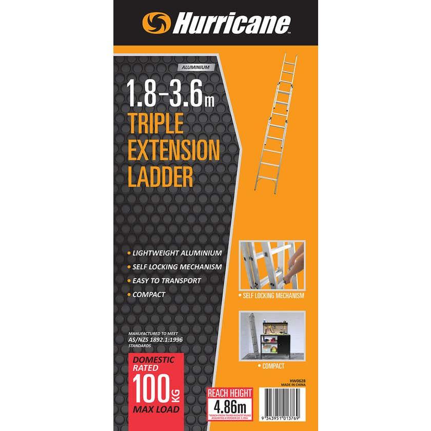 Hurricane™ 1.8 - 3.6m Triple Extension Ladder 100kg Domestic