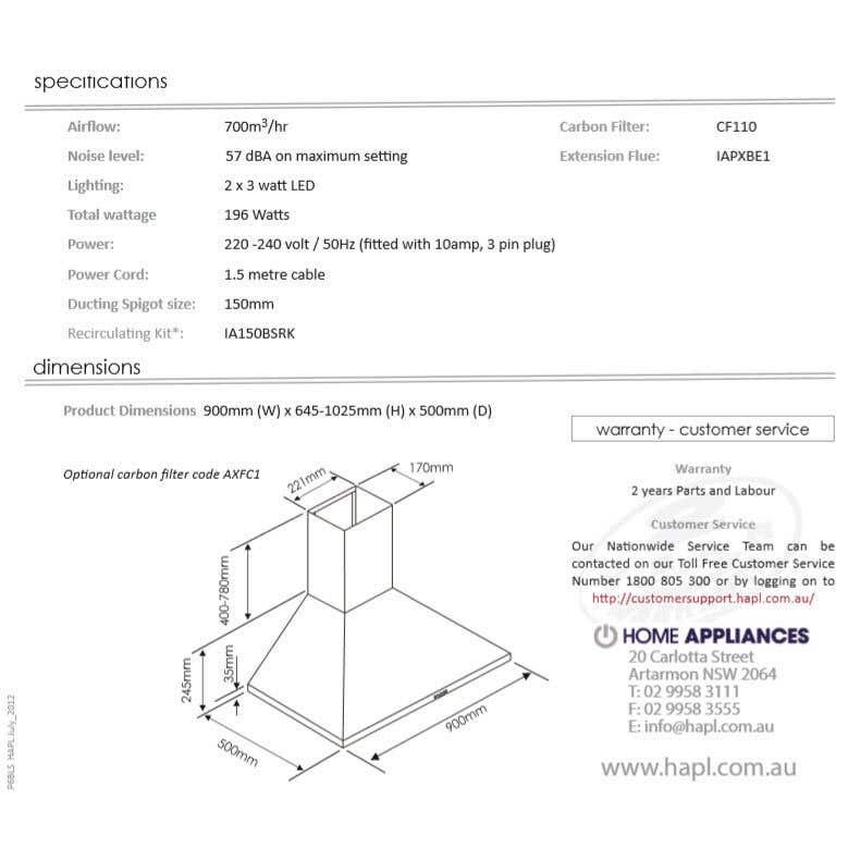 Home Appliances Canopy Rangehood Black 900mm