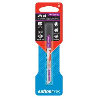 Sutton Tools T-Shank Jigsaw Blade Laminate 80mm 2 Piece