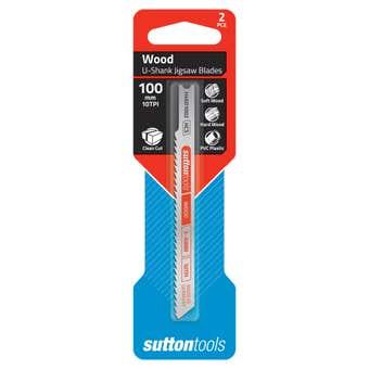 Sutton Tools U-Shank Jigsaw Blade Wood Clean Cut 10 TPI 100mm - 2 Piece