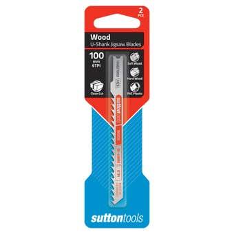 Sutton Tools U-Shank Jigsaw Blade Wood Clean Cut 6 TPI 100mm - 2 Piece