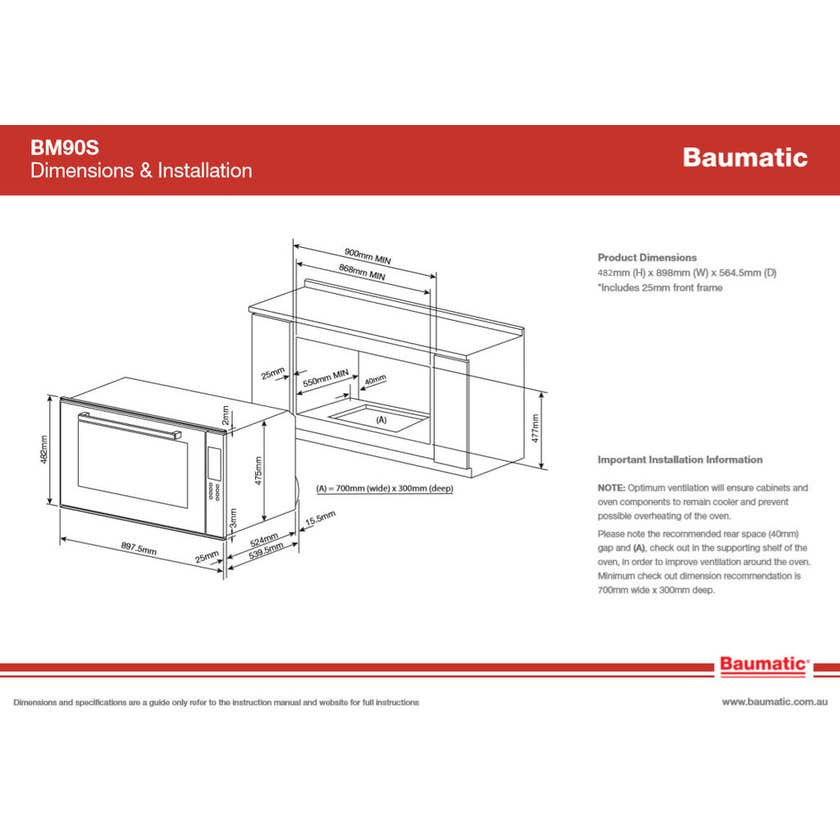 Baumatic Under Bench Oven 900mm