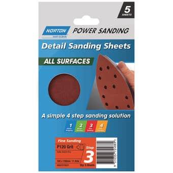 Norton All Surface Sanding Sheet 103 x 150 mm x 4h P120 Grit - 5 Pk
