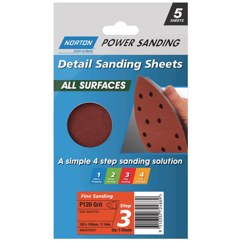 Norton All Surface Detail Sanding Sheet Step 3 103 x 150 mm x 4h P120 - 5 Pack