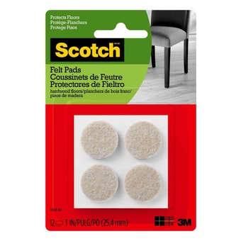 Scotch Round Felt Pads Beige 25mm - 12 Pack