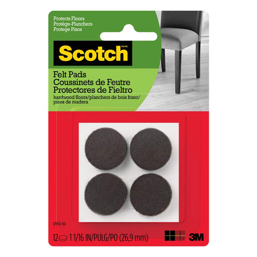Scotch Round Felt Pads Brown 25mm - 12 Pack