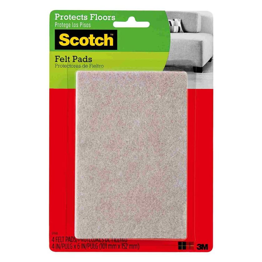 Scotch Rectangular Felt Pads Beige 100 x 150mm - 4 Pack