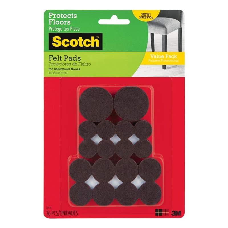 Scotch Felt Pads Brown - 36 Pack
