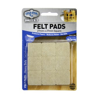 Cold Steel Heavy Duty Square Felt Pads Beige 27 x 27mm - 18 Pack