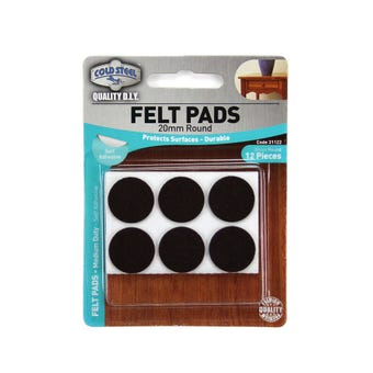 Cold Steel Heavy Duty Round Felt Pads Brown 20mm - 12 Pack