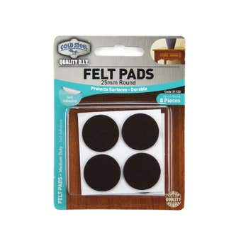 Cold Steel Heavy Duty Round Felt Pads Brown 25mm - 8 Pack