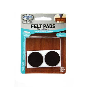 Cold Steel Heavy Duty Round Felt Pads Brown 30mm - 4 Pack