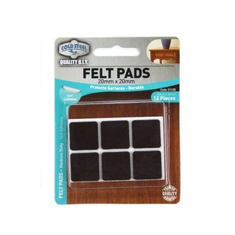 Cold Steel Heavy Duty Square Felt Pads Brown 20 x 20mm - 12 Pack