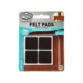 Cold Steel Heavy Duty Square Felt Pads Brown 25 x 25mm - 8 Pack