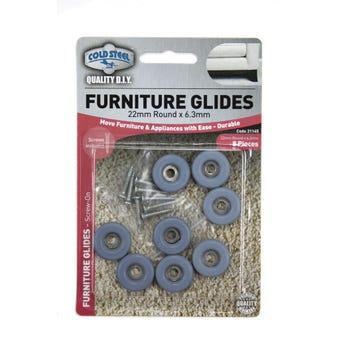 Cold Steel Round Furniture Glides Grey 22mm - 8 Pack