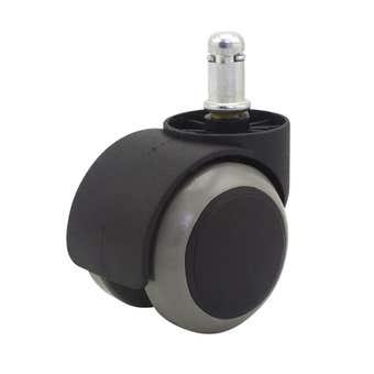 Cold Steel Urethane Twin Wheel Friction Stem Furniture Castor 50mm