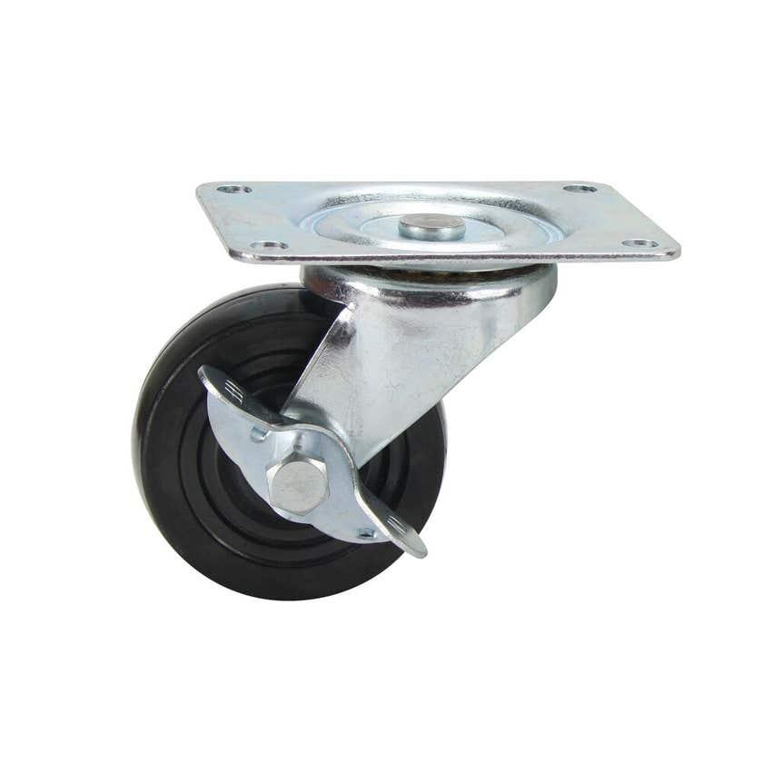 Cold Steel Rubber Swivel Castor with Brake Black 75mm