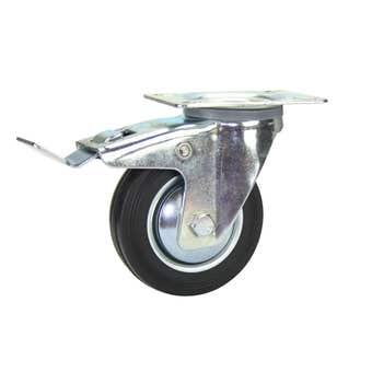 Cold Steel Rubber Swivel Castor with Brake Black 100mm