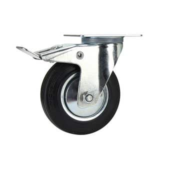 Cold Steel Rubber Swivel Castor with Brake Black 125mm