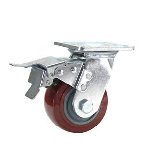 Cold Steel Urethane Swivel Castor with Brake Red 100mm