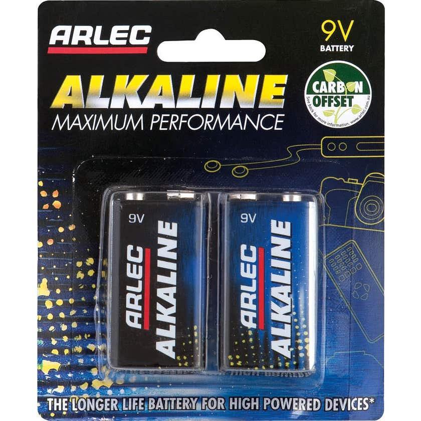 Arlec 9V Alkaline Batteries - 2 Pack