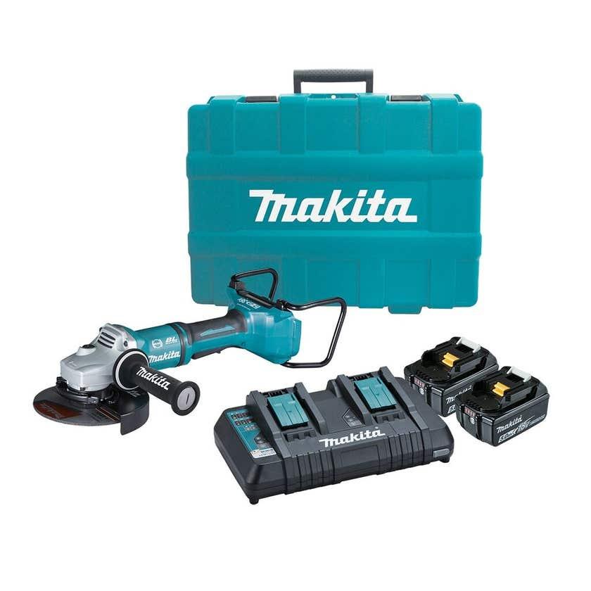 Makita 18V x 2 Mobile Brushless 2 x 5.0Ah Angle Grinder Kit 180mm DGA700PTX1