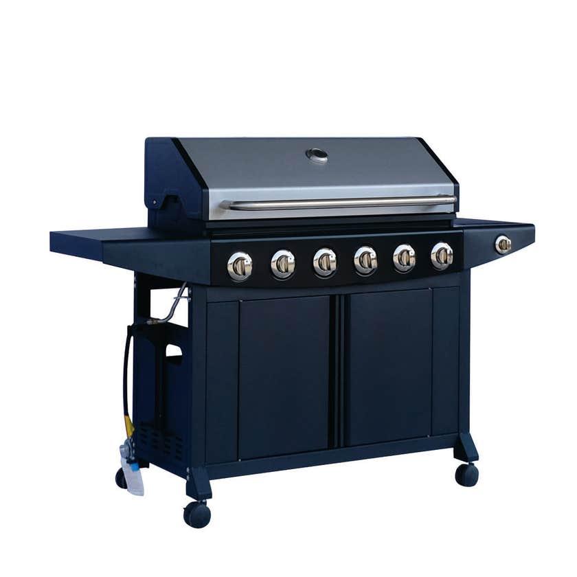 Grilled Yarra 6 Burner Hooded BBQ with Side Burner