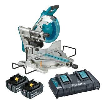 Makita DLS111PT2 18V x 2 Brushless AWS 2 x 5.0Ah Mitre Saw Kit 260mm