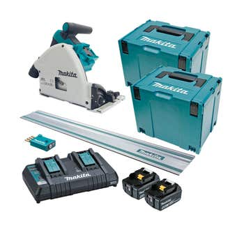 Makita 18V x 2 Brushless AWS 2 x 5.0Ah Plunge Cut Circular Saw Kit 165mm DSP601PT2JUT
