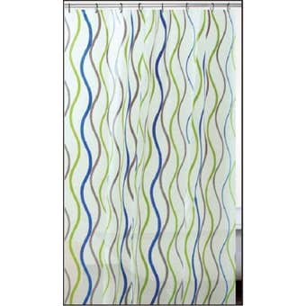 Supertex PVC Shower Curtain Waves