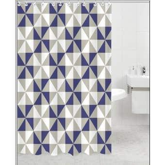 Supertex Polyester Shower Curtain Blue Diamond Print