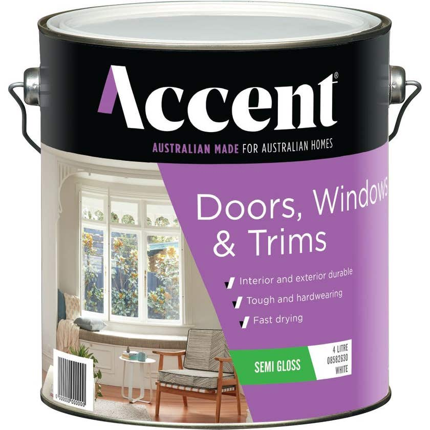 Accent Doors, Windows & Trims Water Based Semi Gloss White 4L