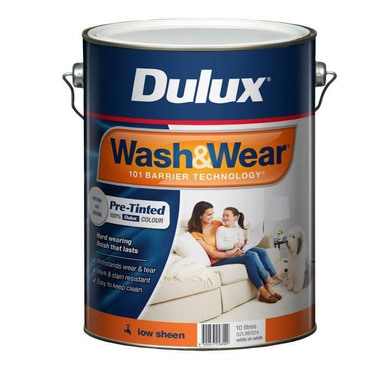 Dulux Wash & Wear Interior Low Sheen White On White 10L