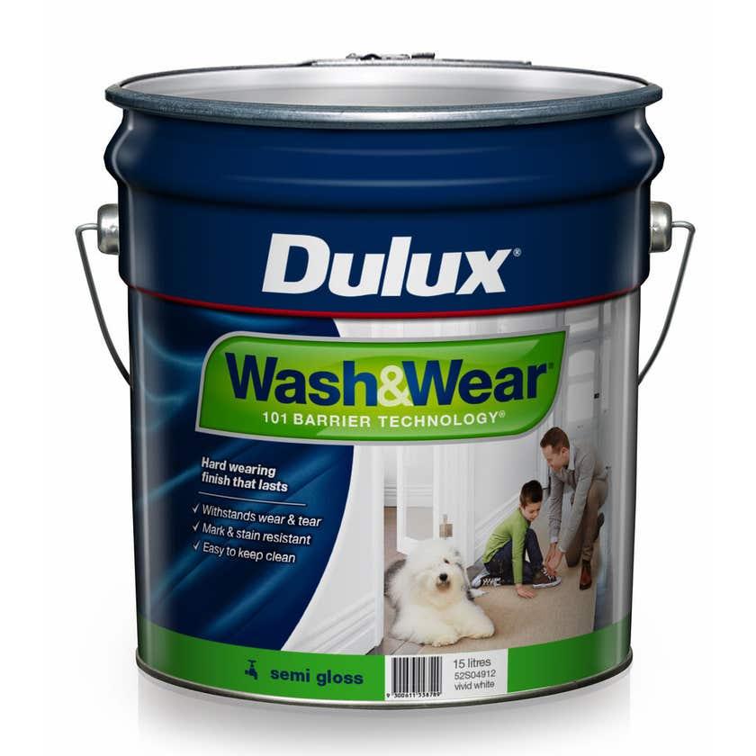 Dulux Wash & Wear Interior Semi Gloss Vivid White 15L