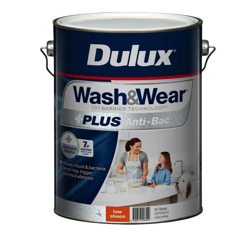 Dulux Wash & Wear +Plus Antibacterial Low Sheen Vivid White 10L