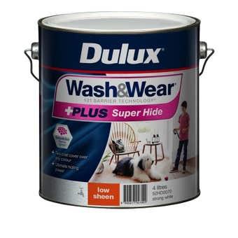 Dulux Wash & Wear +Plus Super Hide Low Sheen Strong White 4L