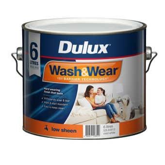 Dulux Wash & Wear Interior Low Sheen Vivid White 6L