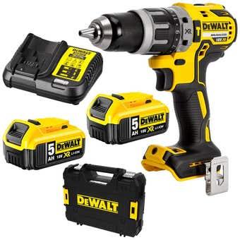DeWALT 18V 5.0Ah XR Li-Ion Brushless Hammer Drill Combo Kit DCD796P2-XE