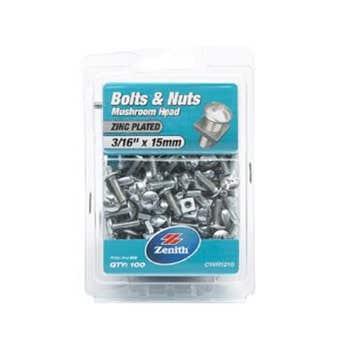 "Zenith Bolts & Nuts Mushroom Zinc Plated 3/16"" x 15mm - 100 Pack"