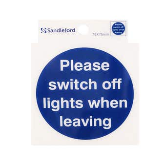 Sandleford Please Switch Off Lights Self Adhesive Sign