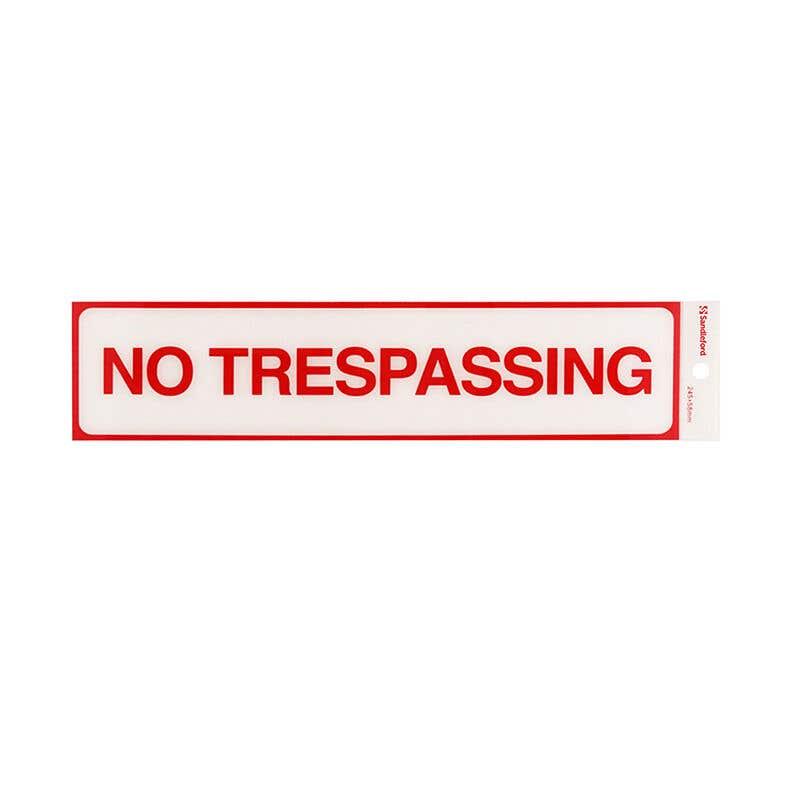 Sandleford No Trespassing Self Adhesive Sign