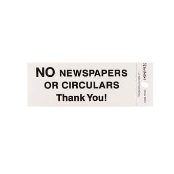 Sandleford No Newspapers or Circulars Self Adhesive Sign