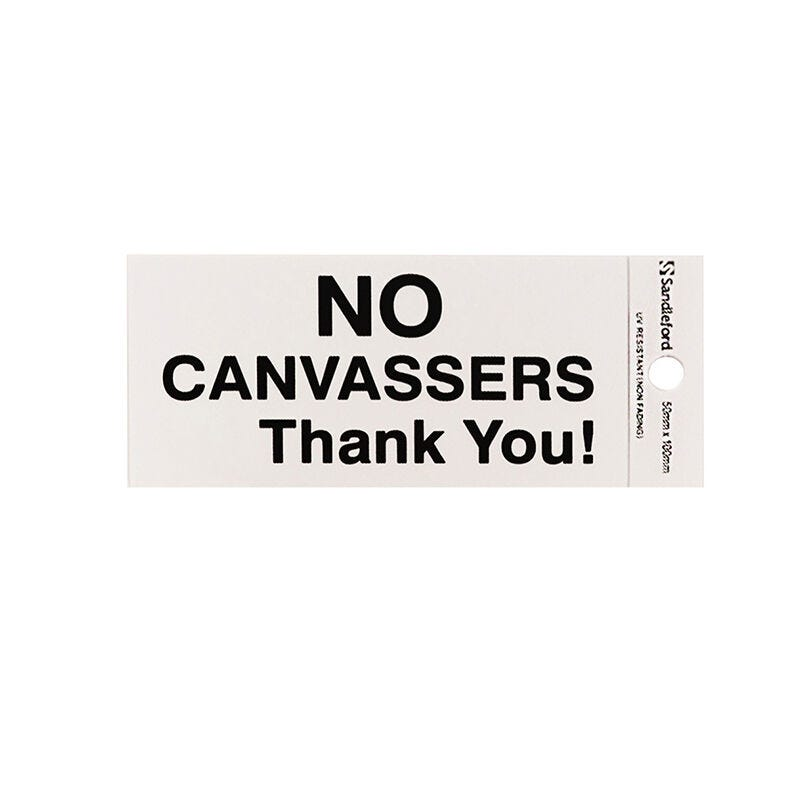 Sandleford No Canvassers Self Adhesive Sign
