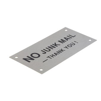 """Sandleford """"No Junk Mail"""" Sign Stainless Steel 95 x 47mm"""