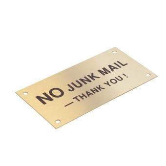 Sandleford No Junk Mail Sign Brass